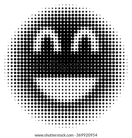 Smiley face in halftone dots style Vector isolated object for websites, design, icons, user picture, avatars, posters, t shirt, logo, stickers, tattoo or other