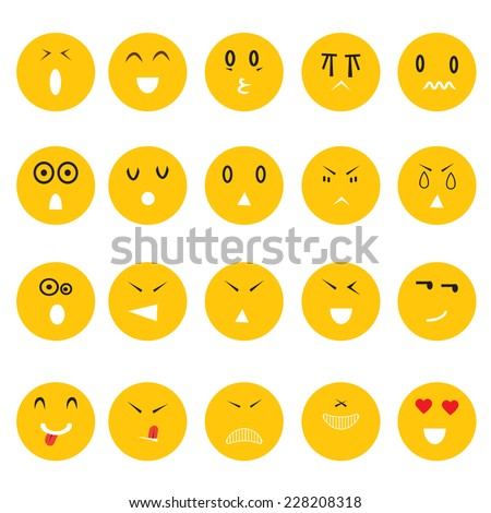smiley faces icons set on white background vector : business concept - stock vector