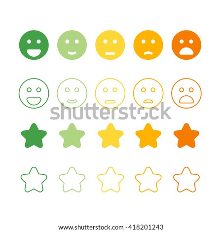 Smiley Faces Rating Icons Happy Unhappy Stock Vector ...