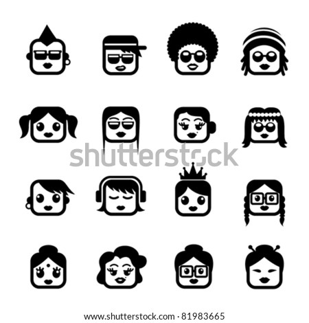 Smiley faces. women characters - stock vector