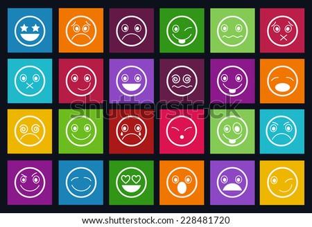 Smiley Icons Design Metro style set - stock vector