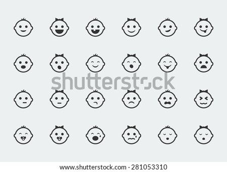 Smiley icons, vector set of varied baby faces expressions - stock vector