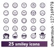 Smiley icons: vector set of varied people face' expressions - stock photo