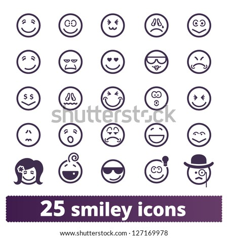 Smiley icons: vector set of varied people face' expressions - stock vector
