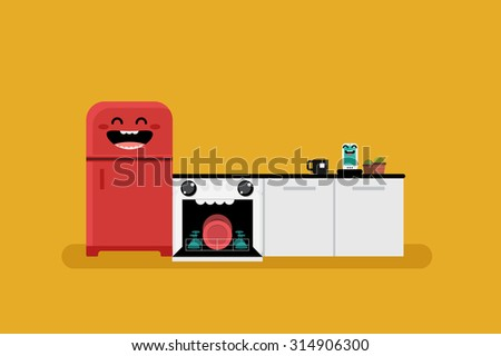 Smiley kitchen illustration