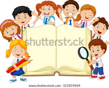 Smiley little kids holding book on isolated background  - stock vector