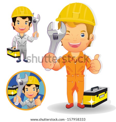Smiley maintenance man,repair man holding big wrench