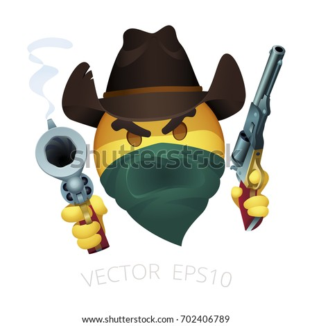 Smiley Of Cowboy Bandit With A Leather Western Hat And Dual Colt Walker Revolvers Emoji