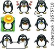 Smiley penguins individually grouped for easy copy-n-paste. - stock vector