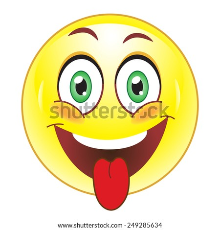 Smiley showing tongue - stock vector