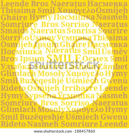 "Smiley sign consisting of the word ""Smile"" in the languages of Europe - stock vector"