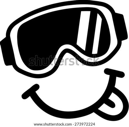 Ski Goggles Vector Smiley Ski Goggles Tounge