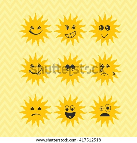 Smiley sun set, emotions set, summer icons, sun sticker face  - stock vector