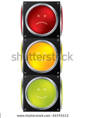 Smiley traffic light design - stock vector