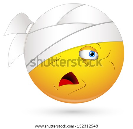 Smiley Vector Illustration - Injured Patient Face - stock vector