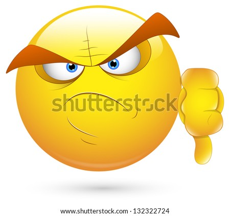 Smiley Vector Illustration - Scary Face Loser - stock vector