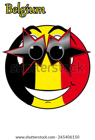 smiley with glasses in the form of a flag Belgium