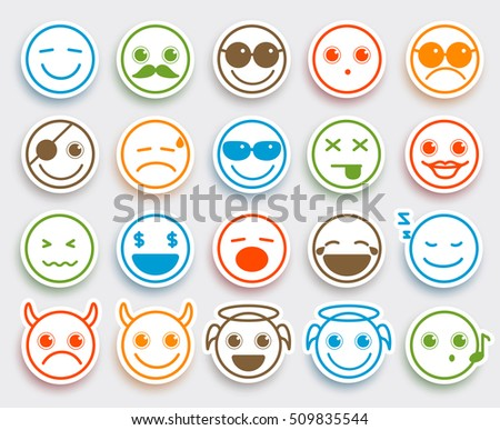 Smileys face vector emoticons set in white flat icon sticker with colorful funny emotions and facial expressions. Vector illustration.