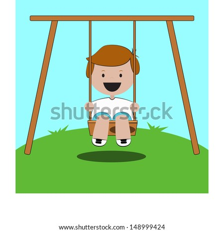 smiling and happy child on swing in playground with summer landscape.