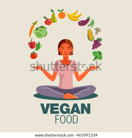 Smiling and happy woman in the lotus position with fruits and vegetables. Healthy food, vegan, vegetarian and yoga vector concept