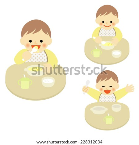 smiling baby eating food / Vector EPS 10 illustration - stock vector