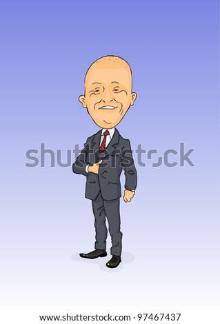 Smiling bald in gray suit and shiny shoes - stock vector