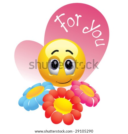Smiling ball giving flowers to you - stock vector