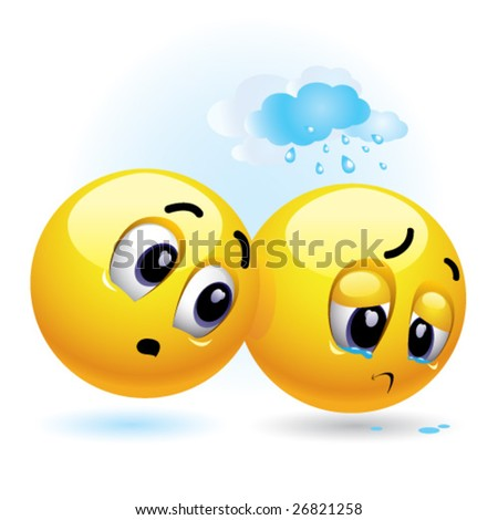 smiling ball trying to cheer up another sad smiling ball - stock vector