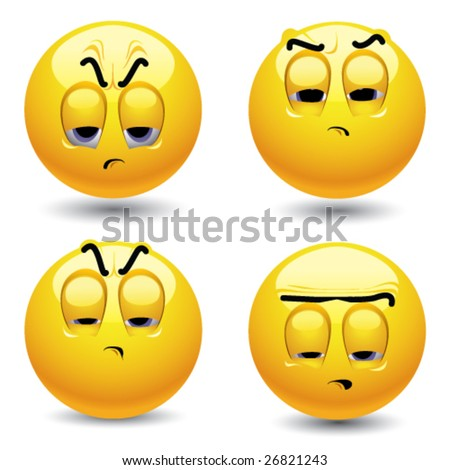 Smiling balls in pessimistic mood - stock vector