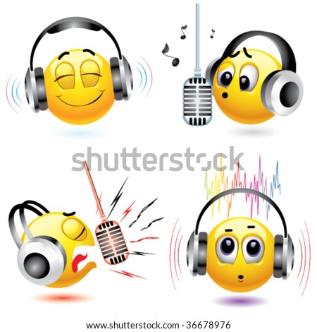 smiling balls listening to different kind of music - stock vector