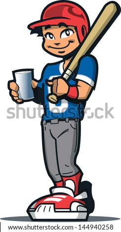 Smiling Baseball Softball Player With Bat, Batter's Helmet and a Drink - stock vector