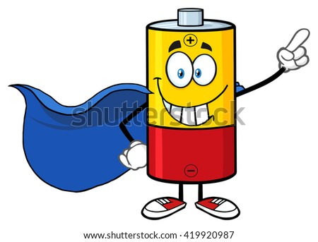 Smiling Battery Cartoon Mascot Character Super Hero. Vector Illustration Isolated On White