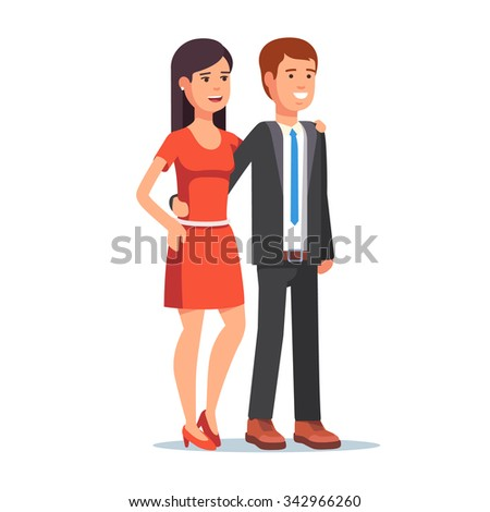 Smiling beautiful couple. Young woman and man standing together embracing. Flat style vector illustration isolated on white background. - stock vector