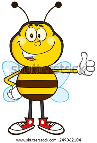 Smiling Bee Cartoon Mascot Character Showing Thumb Up.Vector Illustration Isolated On White - stock vector