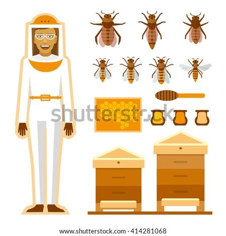 Smiling beekeeper with bees and apiaries. Women beekeeper costume. Bee, honey, bee house, honeycomb - stock vector