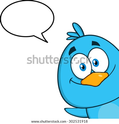 Smiling Blue Bird Cartoon Character Looking From A Corner With Speech Bubble. Vector Illustration Isolated On White - stock vector