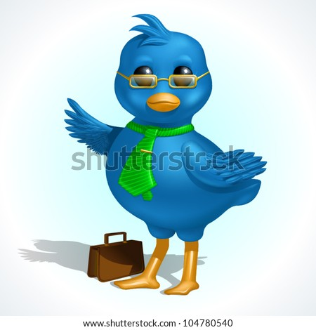 Smiling blue business bird pointing right, with glasses, tie and briefcase