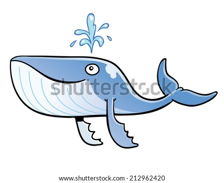 Smiling Blue Whale - stock vector