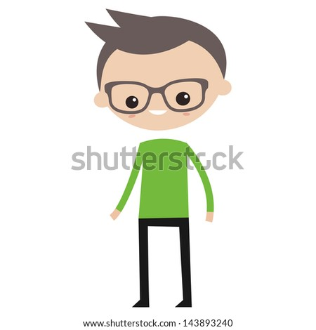 Smiling boy wearing green sweater - stock vector