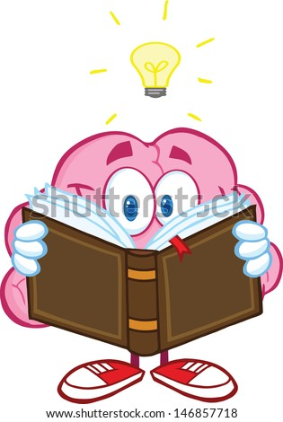 Smiling Brain Cartoon Character Reading A Book Under Light Bulb. Vector Illustration - stock vector