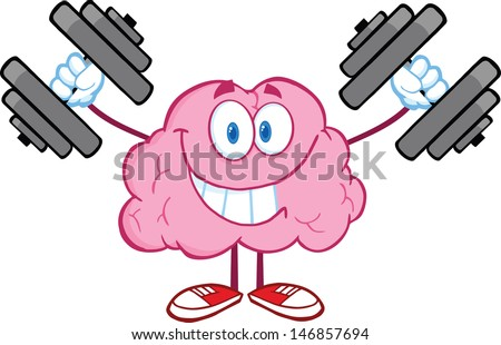 Smiling Brain Cartoon Character Training With Dumbbells. Vector Illustration - stock vector