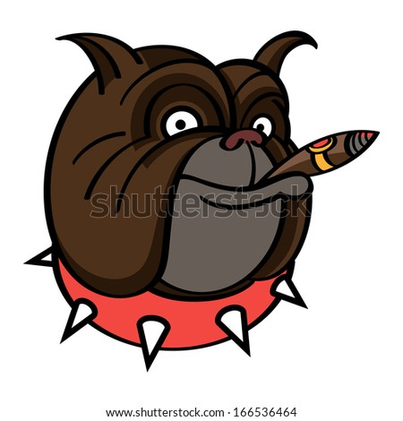 Smiling brown Dog in red spiked collar with Cigar - stock vector
