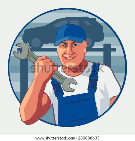 smiling brutal man holding a wrench