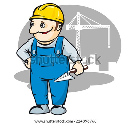 Smiling builder in cartoon style for construction industry design - stock vector