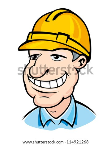 Smiling builder man in helmet. Vector illustration
