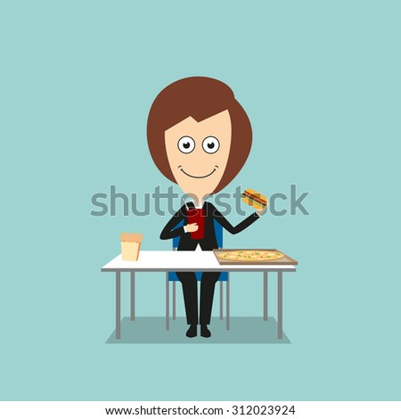 Smiling business woman sitting at table with pizza and french fries boxes and eating fast food hamburger with sweet drink. Cartoon flat style - stock vector