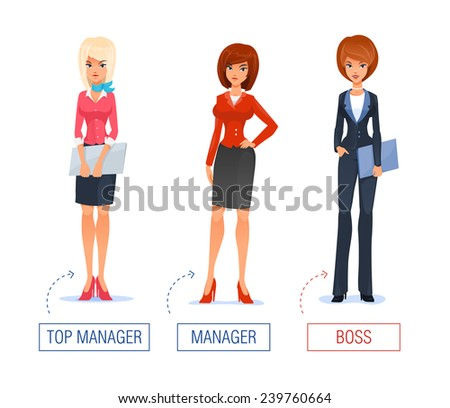 Smiling business woman  vector Illustration of cartoon boss, manager greeting for advertising and presentation. - stock vector