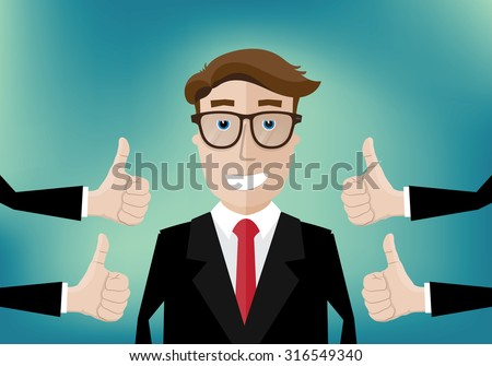 smiling businessman and several hands with thumbs up - stock vector