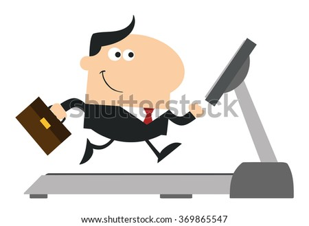 Smiling Businessman Cartoon Character With Briefcase Running On A Treadmill. Modern Flat Design Vector Illustration Isolated On White