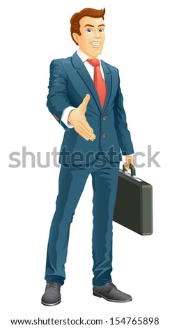 Smiling businessman gives a hand for a handshake. Businessman gives a hand for the welcome. Vector illustration. - stock vector